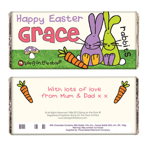 Personalised Easter chocolate bar, bang on the door