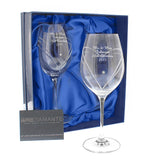 Personalised Hand Cut Diamante Heart Wine Glasses with Swarovski Elements In Box