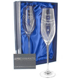 Personalised Hand Cut Heart Flutes with Swarovski Elements in box