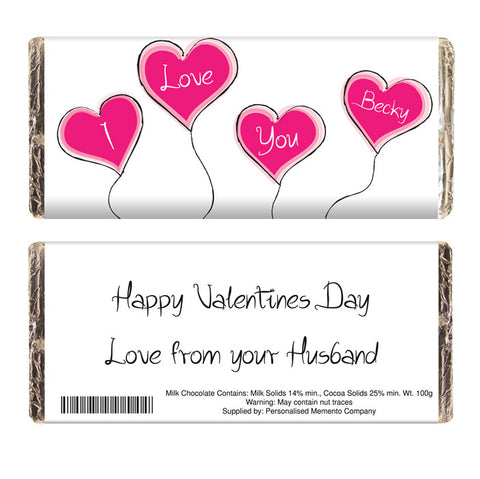 Personalised Heart Balloon Chocolate Bar