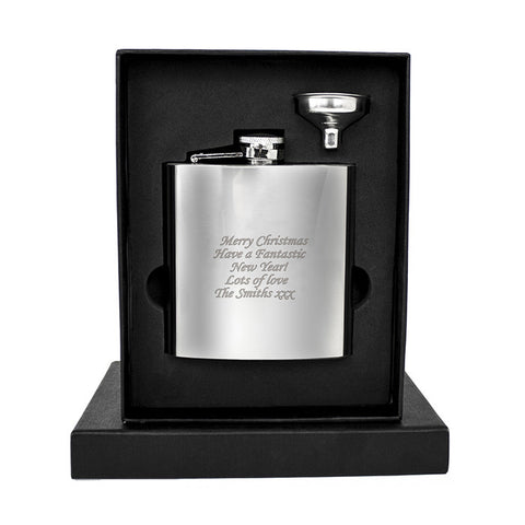 Personalised Hip Flask, Stainless Steel Christmas