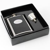 Personalised Hip Flask, Steel and Leather