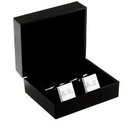 Personalised sterling silver square cufflinks in box