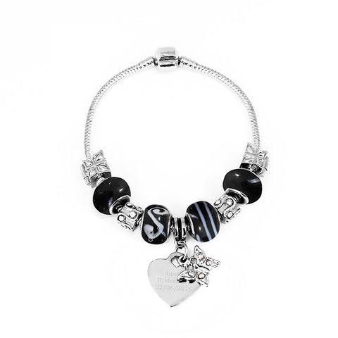 Personalised butterfly heart charm bracelet