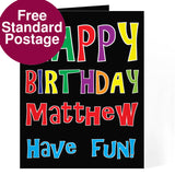 Personalised card, bright happy birthday