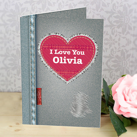 personalised card, denim heart