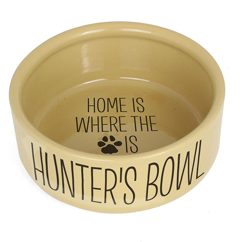 Personalised dog bowl, Large Brown, Home is where