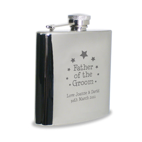 Personalised hip flask, father of the groom with stars
