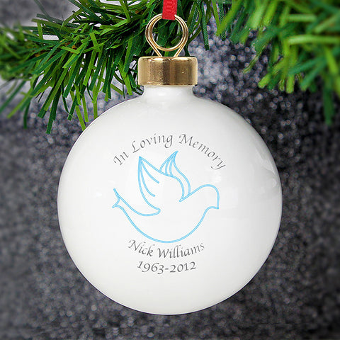 Personalised in loving memory of blue bauble with dove