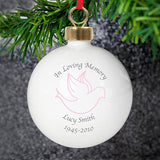 Personalised in loving memory of pink bauble with dove