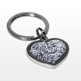 Personalised key ring, heart shaped with diamantes