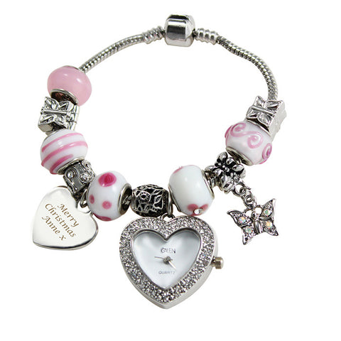 Personalised watch charm bracelet with pink charms