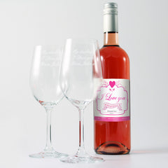 Personalised wine with 2 engraved glasses grande