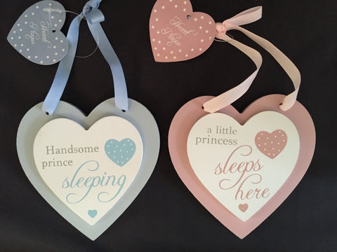 Double heart plaques: pink (princess sleeps here) and blue (handsome prince sleeping)