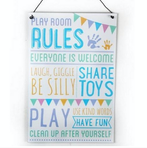 Playroom Rules, metal sign