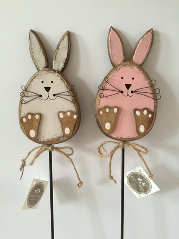 Wooden, Shabby Chic, Pink/Cream Rabbit on a Stick