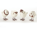 Funky Birds, white birds with red and white accessories