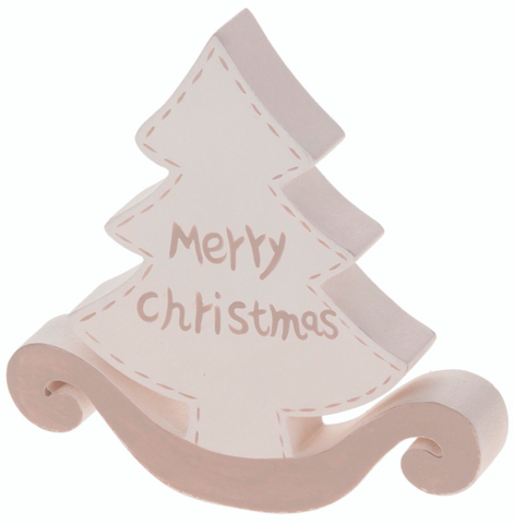 Rocking, White Wooden Christmas Tree Decoration