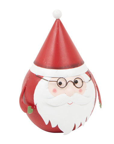 Metal, Round Jolly Santa