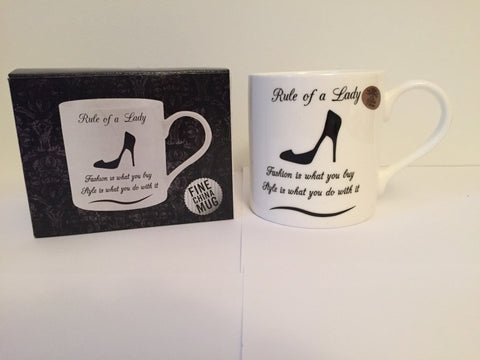 Rule of a lady mug | Fashion is what you buy style is what you do with it