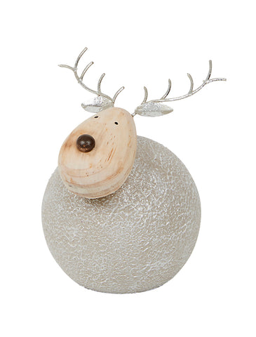 Large, Round Metal Reindeer with natural wood face