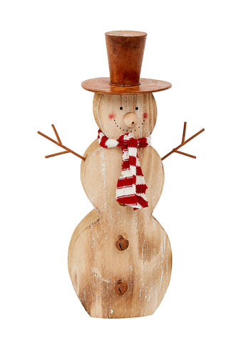 Chunky, Rustic Wooden Snowman with Rusty Hat