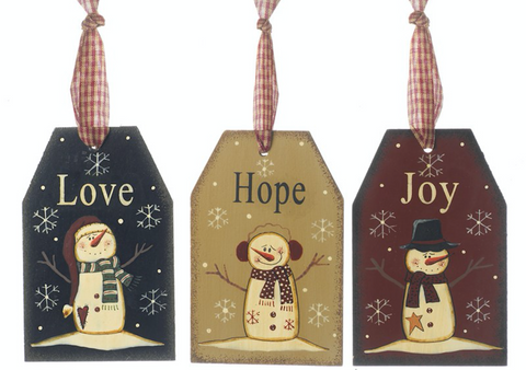 Hanging Wooden, Hope Joy and Love, Ornamental Sign