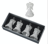 Set of 4, Small Glass Frosted Angels with crystals