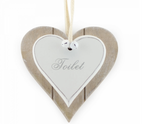 Toilet, Shabby Chic Double Heart Hanging Plaque