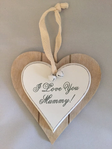 I Love You Mummy, Shabby Chic double heart plaque