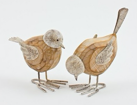 Shabby Chic, Metal and Wooden Birds with Wire Feet