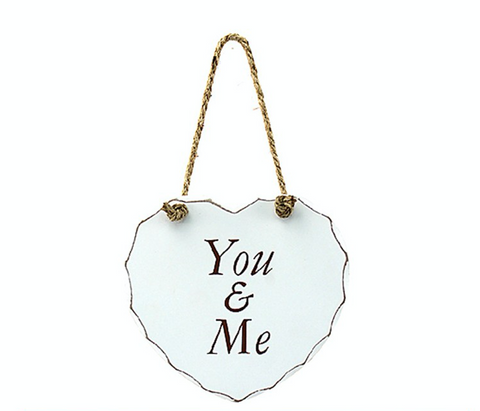 Shabby Chic Heart Hanging Plaque - You & Me