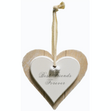 Shabby Chic double heart plaque, Best Friends Forever