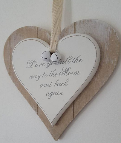Love you all the way to the Moon and back again, Shabby Chic double hanging heart