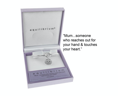 Silver Plated Knot Message Bangle, Mum