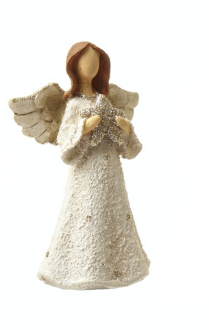 Small Polyresin Angel decoration holding a star