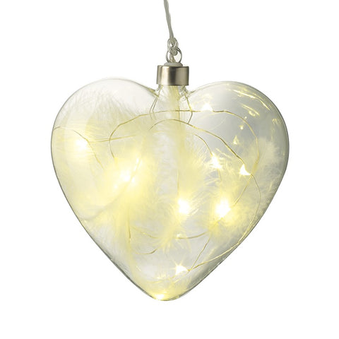 Glass Hanging Heart with Lights and White Feathers