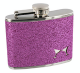 Sophia, 4oz Ladies Pink Glitter Hip Flask with funnel