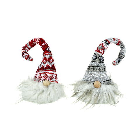 Red and Grey Sitting Gnomes wearing woolly knitted hats