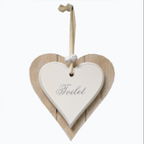 "Shabby Chic double heart plaque - ""Toilet"""
