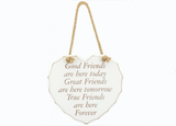 True Friends are here Forever, Shabby Chic Hanging Heart