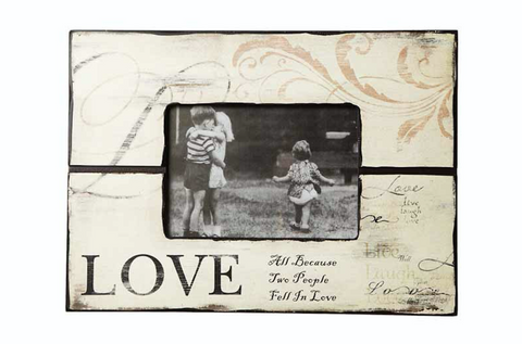 Vintage Cream Wooden love photo frame