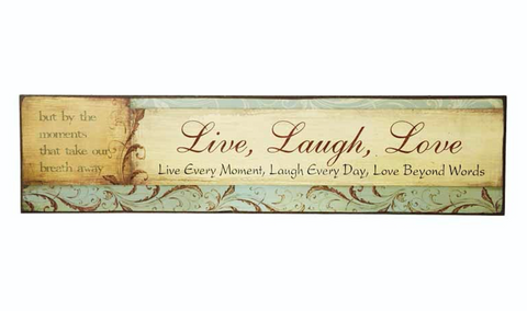 Vintage Wooden Sign - Live, Laugh, Love