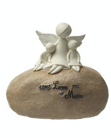 We love you Mum, angel stone ornament