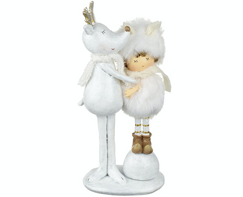 White Reindeer with child cuddling, Heaven Sends