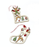 Wooden, Cut Out Tree Decs - Reindeer and Santa