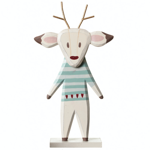 Shabby Chic, wooden reindeer decor with painted detail