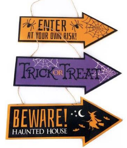 Wooden, Halloween Arrow Signs