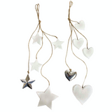 Shabby Chic, wooden hanging hearts and stars