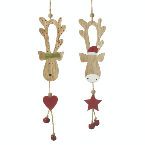 Wooden Hanging Reindeer Decoration - Pair